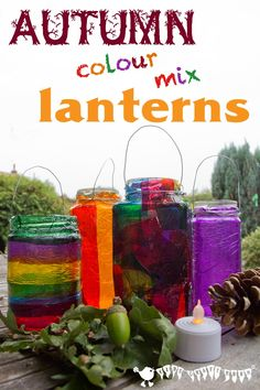 EASY STAINED GLASS LANTERNS - A lovely Fall craft for kids and a great way to explore colour mixing.
