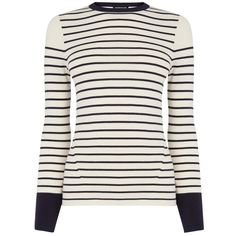 Warehouse Breton Stripe Jumper, Navy (€11) ❤ liked on Polyvore featuring tops, sweaters, navy top, colorblock top, navy blue sweater, color block sweaters and breton sweater