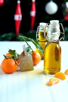 Huile d'olive à la clémentine - cadeau gourmand. Ça me rappelle la Sicile d'où j'avais rapporté ce produit!
