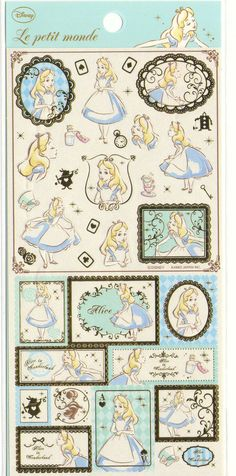 Kawaii Japan sticker Sheet Assort: Disney Princess Series Alice in Wonderland Stickers for Diy Decoration Planners Schedule Books