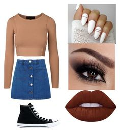 """""""casual look"""" by torsdoyle ❤ liked on Polyvore featuring Miss Selfridge, Converse and Lime Crime"""