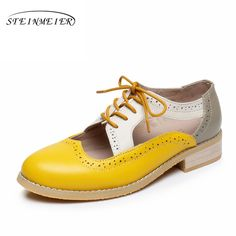 Hot Sale $36.78, Buy Genuine leather big woman US size 11 designer vintage Sandals flat handmade yellow beige grey 2017 oxford shoes for women