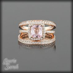 Light Pink Sapphire and Diamond Halo Engagement Ring with Two Diamond Half Eternity Bands - LS2207. $4,402.50, via Etsy.