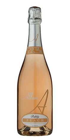 """Allure Peach Moscato: """"Allure Peach Moscato captures the scrumptious flavor of a peach bursting with ripeness combined with the floral and fruity essences of our Symphony wine. It's summer in a glass. The palate is further roused by a frenzy of lively bubbles and enticing sweetness."""" – Winemaker's Notes"""