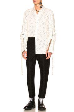 Image 4 of Ann Demeulemeester Long Sleeve Shirt in White & Black