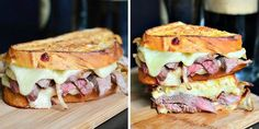 Sándwiches calientes: ternera, queso y cebolla caramelizada