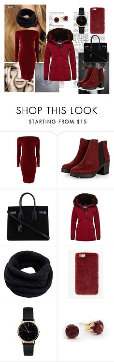 """""""Winter dress"""" by dzananukic ❤ liked on Polyvore featuring Yves Saint Laurent, Superdry, Helmut Lang, Missguided, Freedom To Exist, Winter, love and fashionset"""