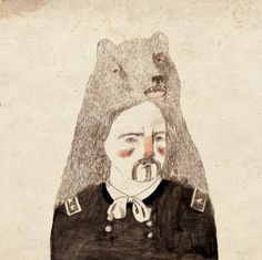 art, bear, fur, illustration, lizzy stewart, man, native american