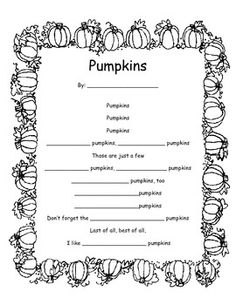 Pumpkin Poem Template - Using Adjectives