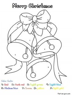 printable christmas bells worksheets color by number pages printable coloring pages for kids - Holiday Printable Worksheets
