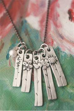 My Wildflowers Necklace {Pewter} Metal Clay Jewelry, Ceramic Jewelry, Copper Jewelry, Polymer Clay Jewelry, Pendant Jewelry, Pendant Necklace, Jewelry Crafts, Jewelry Art, Jewelry Design