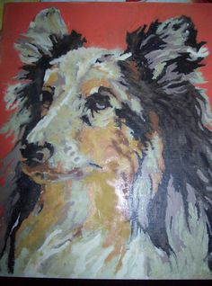 Paint by Number Dog Painting Vintage Salvaged Art 8 x 10 Collie / Animal Painting/ Hand Painted by kd15 on Etsy