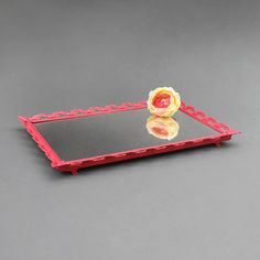 Coral Mirrored Vanity Tray - Rectangular Perfume Tray - Vintage - Ornate Filigree Metal - Footed - Orange Pink by TheCherryAttic on Etsy
