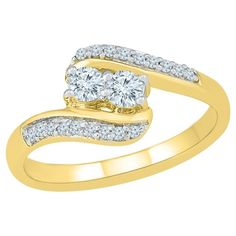 0.40 CT. T.W. Round White Diamond Prong Set Two Stone Ring in 10K Yellow Gold (I2-I3/I-J) - (