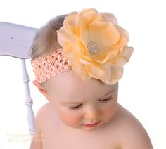Peach Delight Blooming Rose Baby Headband by Posh Little Tutus.com