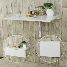 Haotian Wood Wall-mounted Drop-leaf Table, Balcony table,Folding Dining Table, for sale online Wall Mounted Table Kitchen, Wall Mounted Desk, Dining Table In Kitchen, Table Desk, Wall Mounted Folding Table, Dining Room, Kitchen Desks, Kitchen Storage, Folding Walls
