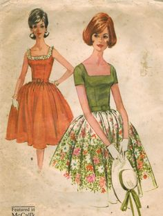 1960s McCall's 6224 Vintage Sewing Pattern Misses Summer Party Dress Size 10 Bust 31