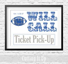 Football Wedding Will Call Sign, Escort Ticket Sign, Football Reception, Ticket Pick Up Sign, Escort Card Sign, Please Pick Up Your Ticket by CuttingItUp