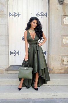 Rose Wrap Dress - Olive