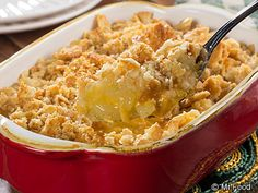 Pineapple Casserole - This unexpectedly delicious pineapple casserole is sure to be a hit at your Easter brunch or dinner.
