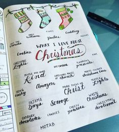 Want to bring Christmas to your Bullet Journal? Christmas Bullet Journal page ideas, doodle tutorials, Christmas stationery and inspiration for monthly Bullet Journal Christmas theme. Bullet Journal December, Daily Bullet Journal, Bullet Journal Christmas, Bullet Journal Quotes, Bullet Journal Spread, Bullet Journal Layout, Bullet Journal Calendar Ideas, Journal Español, Journal Themes