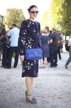 Blue Floral MIU MIU Dress, Blue PRADA Bag, Green Shoes