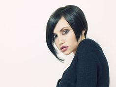 short hair photo of a sexy woman with dark hair. Gorgeous look and short hair style.