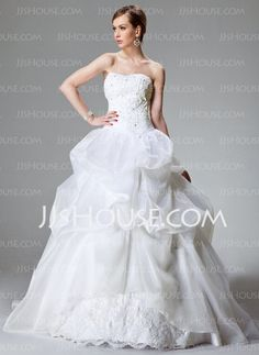 Wedding Dresses - $208.99 - Ball-Gown Sweetheart Chapel Train Organza  Satin Wedding Dresses With Lace  Beadwork (002000423) http://jjshouse.com/Ball-gown-Sweetheart-Chapel-Train-Organza--Satin-Wedding-Dresses-With-Lace--Beadwork-002000423-g423