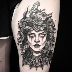 medusa tattoo Medusa from Amanda amandarinertattoo Full Sleeve Tattoos, Sleeve Tattoos For Women, Leg Tattoos, Arm Tattoo, Body Art Tattoos, Maori Tattoos, Tatoos, Tattoo Sleeves, Thigh Tattoos For Women