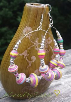 Hey, I found this really awesome Etsy listing at https://www.etsy.com/listing/200640209/colors-of-the-rainbow-paperbead-earrings