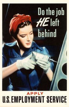 """WW2 poster featuring a photo of a """"live"""" Rosie the Riveter."""