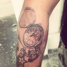 Old clock black and gray tattoo