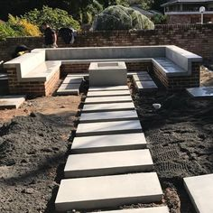 Off form concrete seating, fire pit and steppers curing nicely. This area will b… - Outdoor Diy Off form concrete seating, fire pit and steppers curing nicely. This area will be the heart of the g