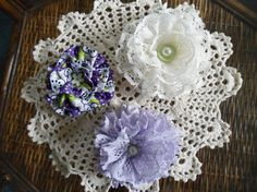 Ribbon and Lace Handcrafted Floral Accessories by silksbysandy, $9.00