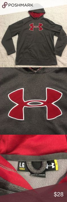 SATURDAY SALEUnder Armour Sweater Men's Large Under Armour Long Sleeve Sweatshirt. Men's Large. Hoodie is in great condition. Lightly worn. Gray and red Under Armour Sweaters