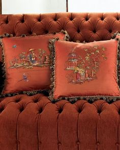 Most Beautiful Color!  Tufted Sofa & Designer Pillows