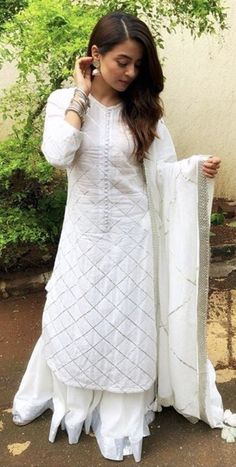 Cotton Lace White Long Sleeve Sharara Suit by Shaliniboutique on Etsy TOP Fabric : Georgette Inner :- Silk Fully Stitched up to xxl size PALZO Fabric: Gorgette Fully Stitched up to xxl size Dupatta : Georgette with Fancy lace Stitching Type :Stitched Salwar Suit Neck Designs, Neck Designs For Suits, Kurta Neck Design, Kurta Designs Women, Dress Neck Designs, Designer Salwar Kameez, Pakistani Dresses Casual, Pakistani Dress Design, Sarara Dress