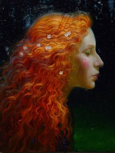 Mermaid [Original Title Unknown] By Victor Nizovtsev Victor Nizovtsev, Pre Raphaelite, Oeuvre D'art, Painting & Drawing, Hair Painting, Art Inspo, Redheads, Fantasy Art, Portraits