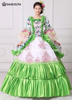 e693d3ebbf New Green Floral Printed Masquerade Ball Gown Southern Rococo Belle Marie  Antoinette Dress Reenactment Theatrical Clothing Vestido