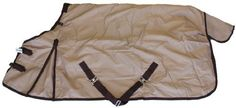 """600D Medium Weight Horse Turnout Blanket Tan by AJ. $65.00. Adjustable cross belly straps, removable elastic leg straps. No center seam, prevent leaking. Fleece collar, hood rings, gusset, tail flip. 300g poly fill insulation. 600 Denier """"Rip Stop"""" waterproof breathable outer shell. Double front buckles with Velcro closure. Premium medium weight winter horse turrnout blanket. Made with 600 denier """"Rip Stop"""" waterproof and breathable outer shell, 300 poly fill, 21..."""