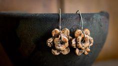 Tangerine Flower Ceramic Earrings by MicheleClagett on Etsy
