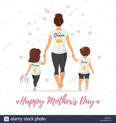 Vector cartoon style illustration of happy mother with children in t-shirts with golden crowns. Mother's day greeting card template on white background. Mother Daughter Art, Mother And Child, Greeting Card Template, Mother's Day Greeting Cards, Mothers Day Images, Happy Mothers Day, My Cute Love, Mode Poster, Mother Day Wishes