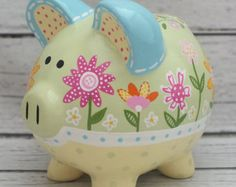 Personalized Piggy Bank Custom hand painted by Alphadorable The Little Couple, Personalized Piggy Bank, One Stroke Painting, Pebble Painting, Pottery Studio, Hand Painted Ceramics, Baby Decor, Altered Art, Baby Shower Gifts