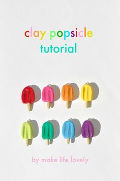 Sculpey polymer clay fimo popsicle tutorial, do not use clear fingernail polish. This is a solvent base material that should not be used to seal. Cute Polymer Clay, Sculpey Clay, Cute Clay, Polymer Clay Charms, Polymer Clay Projects, Polymer Clay Creations, Polymer Clay Earrings, Plasticine Clay, Polymer Clay Miniatures