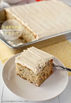 This is the BEST Banana Cake! It's moist and sweet and topped with a tangy cream cheese frosting!