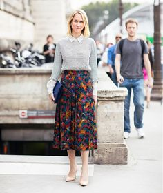 street style, work, nude pumps, striped shirt PHOTO: Stockholm Street Style via @WhoWhatWear