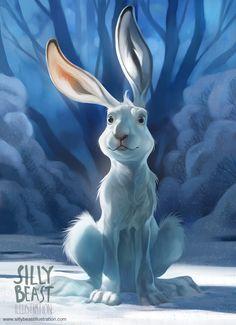 art, illustration, animal, white rabbit, tree, lighting, // Therese Larsson