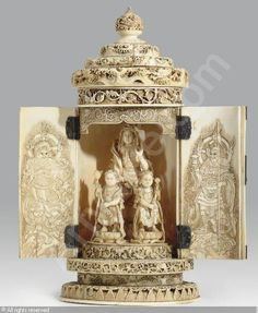 An Ivory Portable Shrine, signed Hakumin To sold by Christie's, New York, on Tuesday, March 18, 2008