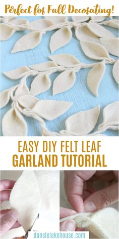 Looking for DIY fall garland ideas? This felt leaf DIY fall garland is easy to make and the supplies are inexpensive - I cut up a thrift store wool blanket! So it's an eco-friendly craft idea too. Use it for fall decorating or winter decorating. Anywhere you need some fall garland decor. This DIY leaf garland is versatile and you can make it any color. I hope you enjoy making this fall leaf garland - DIY felt garland is super easy to make. Felt garland Christmas or felt garland fall decor. Easy Sewing Projects, Diy Craft Projects, Decor Crafts, Home Crafts, Diy And Crafts, Craft Ideas, Decor Ideas, Diy Wool Felt, Felt Diy