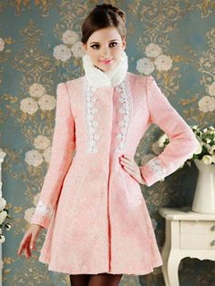 Women's Slim Stand Fur Collar Flower Decorated Wool Trench Coat Pink